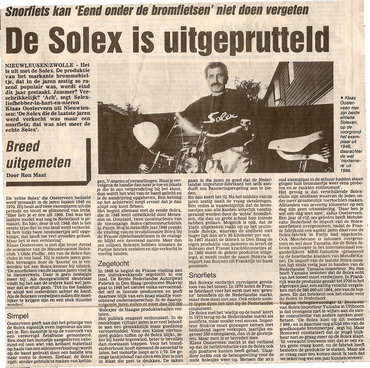 de-solex-is-uitgeprutteld